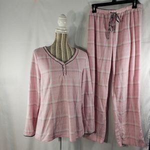 Adonna Sleepwear Pink Plaid PJs Size Medium